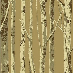 Seabrook Wallcoverings - Brown Birch Tree Wallpaper - Contemporary birch tree wallpaper. Vinyl-Coated + HalfDropMatch. EH61007