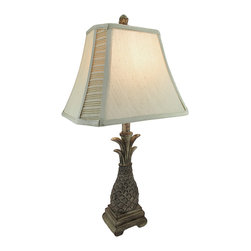 Decorative Pineapple Table Lamp with Silk Shade - This table lamp adds an elegant accent to tables, end tables, or nightstands in your home. It measures 26 1/2 inches tall, and has a 5 inch by 4 inch base. It is made of cold cast resin, has a wonderful antique finish, and has a beige silk shade that measures 9 1/4 inches tall, 14 inches long, 10 inches wide. The lamp uses a 60 watt (max) type A bulb (not included) and has a brown 5 foot long power cord. It looks lovely in bedrooms, living rooms, or on tables in your home or office and the neutral colors are sure to complement most any decor.