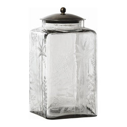 Arteriors - Arteriors Canton Jar - These were inspired by simple kitchen canisters; however, the elaborate hand etching elevates them to elegance and crosses the boundary of East and West. Fill with bath salts or jelly beans, or use as a cookie jar. The bronze steel lids will keep your contents dry. • Available in Small or Large• Primary Material: Glass / Clear• Material 1: Iron / Bronze