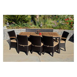 Arbor 9-Piece Modern Patio Dining Set, Beige Cushions