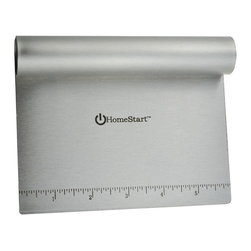 HomeStart - Homestart Dough Scraper / Cutter / Chopper (Stainless Steel) - Inch increments are listed on the blade for dividing cookie and pastry dough