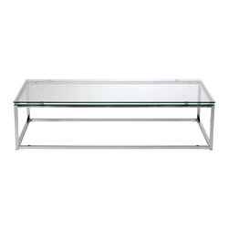 Euro Style - Euro Style Sandor Coffee Table X-13082 - The proportions of these three tables (coffee, side and console) are iconic to say the least.  Tops in clear or pure white glass float on perfectly geometric chrome steel bases.  We're talking Museum of Modern art here.  Not really.  But it's the right thing to do.