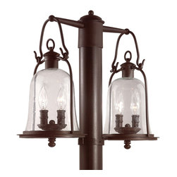 """Troy - Owings Mill Collection 21"""" Wide Outdoor Double Post Light - From the Owings Mill lighting collection this outdoor post light shines adds a bright shine to your outdoor spaces. It features a double lantern design in hand-forged iron and lantern hook tops. Clear seeded glass provides a bright light throw. Natural bronze finish. Post mount style. Post (58377)not included. Takes four 60 watt candelabra bulbs (not included). 21"""" wide. 17 5/8"""" high.  Natural bronze finish.  Takes four 60 watt candelabra bulbs (not included).   21"""" wide.  17 5/8"""" high."""