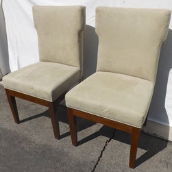6 Walnut/Suede Parsons Chairs - This is a set of 6 parsons style dining chairs that were custom designed and are very high quality! Solid walnut in a medium stain with celery color suede seats. This chairs are in excellent condition but have been wrapped in moving blankets so just got a little squished, but they are smoothing out fine.