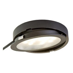 """Tresco - Tresco POC-3LEDSFR-WBL 3.0 Watt LED Pockit Light - Black - Bath the underside of your cabinets in warm white lighting while consuming less energy and generating less heat than mmtraditional lighting. Replaceable 3.0 Watt long-life LED chips carry a 50,000 hour end of life rating and are easily replaced. The flat LED bulbs radiate a 90 viewable range of light, broader than standard LEDs. Lights can be recessed or surface mounted to achieve the right look for your project. The Tresco POC-3LEDSFR-WBL featuress a 79'' connecting cord and requires a Tresco Transformer (sold separately), which can power up to six Pockit Lights. If a longer lead is required, linking cords are also sold separately. Size Specifications: 2-1/2"""" x 3/8"""". Requires 2-1/4"""" diameter hole for recessed mounting."""