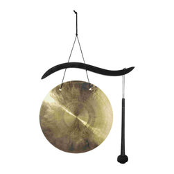 Woodstock Chimes - Hanging Gong - A contemporary curve gives this gong an upscale flair. Black wood hanger, bronze gong, mallet. Cannot sell into Canada per manufacturer.