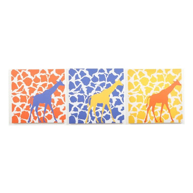 Modern Littles - Modern Littles Rusty Giraffe Walk Canvas Print Set - RSTMMSET2 - Shop for Wall Decorations from Hayneedle.com! The primary design element of your little one's room? That'd be the artful animal-inspired Modern Littles Rusty Giraffe Walk Canvas Print Set. Crafted with durable engineered wood frames covered in crisp canvases printed with primary-colored giraffe silhouettes and spots these three prints are a bright addition to any space whether hung together or separately.About Modern LittlesWhen it comes to the building blocks of a well-designed kid's room Modern Littles' storage bins create a solid foundation. The company specializes in clean modern storage bins - as well as prints wall decals and laundry baskets - that help parents create fully organized coordinated spaces with just a few practical pieces. Six collections are appropriate for boys and girls with something for every age from newborn to teen.