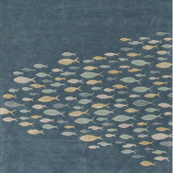 Unknown - Hand-tufted Transitional Animal Print Pattern Blue Rug (5' x 8') - Bring the beach into your home with this rug. Taking inspiration from the casual style synonymous with popular lifestyle,this thoughtful rug embodies the warmth and colorful surroundings of the coast. wool is artfully hand-tufted into a thoughtful
