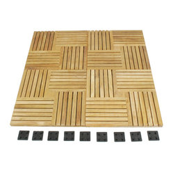 Westminster Teak Furniture - Westminster Teak 5-Pack Waterproof Floor Tiles - 45 Square Feet of All Weather Teak Patio Tiles in Parquet Style.  For Decks, Patios, Bath, Spa and Marine use.