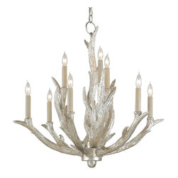 Currey & Company - Currey & Company Haywood Chandelier CC-9410 - An elevated take on the rustic antler trend, the Haywood Chandelier is finished in a lux Silver Granello and boasts nine lights. Both understated and refined the Haywood Chandelier also has a matching wall sconce.