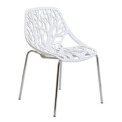 """LexMod - Stencil Dining Side Chair in White - Stencil Dining Side Chair in White - Find your inner catalyst with this activating dining chair. Watch as a tree is carefully depicted in Stencil's telling journey between enigmatic forests and song-filled remembrances. Let sunlight filter through and nurture experiences of enduring light. Set Includes: One - Stencil Chair Organic leafy forest motif, Either indoor or outdoor use, Modern dining or accent chair, Chrome plated steel base, Molded plastic seat, Stackable Overall Product Dimensions: 21""""L x 21""""W x 31""""H Seat Height: 16.5""""H - Mid Century Modern Furniture."""