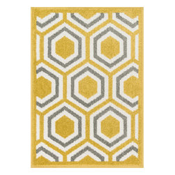 """Loloi Rugs - Loloi Rugs Terrace Collection - Citron / Grey, 3'-0"""" x 3'-0"""" Round - Bold design and bright colors come together beautifully in the outdoor-friendly Terrace Collection. Each Terrace rug is power loomed in Egypt of 100% polypropylene that's specially treated to withstand rain and UV damage without staining or fading color.�"""