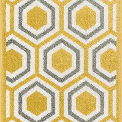 "Loloi Rugs - Loloi Rugs Terrace Collection - Citron / Grey, 3'-0"" x 3'-0"" Round - Bold design and bright colors come together beautifully in the outdoor-friendly Terrace Collection. Each Terrace rug is power loomed in Egypt of 100% polypropylene that's specially treated to withstand rain and UV damage without staining or fading color.�"