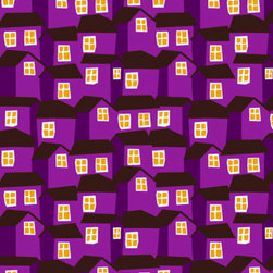 MOKKI PURPLE Fabric by Marimekko - These charming shacks are geometric, colorful and happy. I'm imagining them on a roman shade or a throw pillow, perhaps as a chair cushion? I can't decide, I just know I want to use it somewhere.