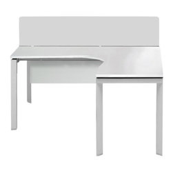Jesper Office - Pure Office Boomerang Computer Desk - Features: -Desk.-Brushed aluminum base.-Frosted privacy screen.-Modesty panel.-Power, internet and phone building.-Wire management.-Commercial grade.-Pure Office collection.-Distressed: No.-Collection: 500 Collection.Dimensions: -Dimensions: 30'' H x 60'' W x 60'' D.-Overall Product Weight: 100 lbs.Assembly: -Features:.-Assembly required.Warranty: -5 Years warranty.