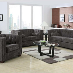 Coaster Charcoal Microvelvet Sofa Couch Loveseat Chair Tufted Living - Relax in style with the Alexis collection. Wrapped in a low pile micro velvet in an almond or charcoal color for an ultra soft look and feel, this set also features fully reversible seat cushions and a decorative tufted back. Comfy lumbar pillows are included.
