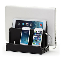 Great Useful Stuff - Faux Leather Multi-Charging Station, Black - Techies, don't not worry about all the electronics cluttering up your space. Banish the unsightly cords and stylishly organize your gadgets with this multicharging station. The smart, faux-leather stand holds a laptop, tablet and three other devices that you simply can't live without.