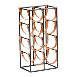 Kathy Kuo Home - Large Brighton Rustic Farmhouse Iron Leather Wine Rack Holder - It's perfectly clear: this generously proportioned wine holder has a BIG style statement to make.  Rustic minimalism gets a unique update in the form of strappy leather handles which hold the bottles in place.  Placed in an industrial or rustic kitchen the spare lines and vaguely equestrian leather will surely be a conversation starter.