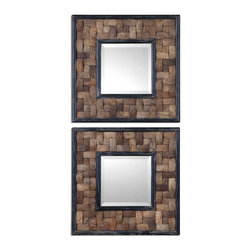 Uttermost - Barros Squares Set of 2 Mirror - Frame is coconut shell layered in a basket weave design with distressed black inner and outer edges. Mirror is beveled.