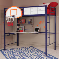 Powell - Powell Hoops Basketball Bed / Bunk Bed - The Powell Hoops Metal Basketball Bed combines fun and function with a full NBA sized basketball hoop and a whiteboard to keep score. The loft bunk features space for a twin size mattress and includes a shelf and study desk unit underneath.