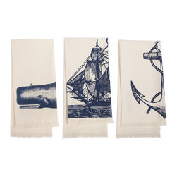 Thomas Paul - Seafarer Hand Towel, Set of 3 - Bold and graphic; these are words often used to describe crazy uncles and women's fashion, but they are also the perfect words to describe the textile collection of design industry darling Thomas Paul. His prints are the perfect addition to any space needing a splash of character.