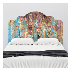 J. Paul Moore - Paul Moore's Rusted Metal Headboard Wall Decal - A perennial favorite, the hues of rusted metal come to adhesive headboard wall decals, but without all the irony aftertaste. Get ironic with Paul Moore photography.