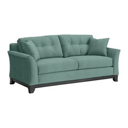 Apt2B - Marco Sofa, 60's Blue - Make yourself comfortable on the Marco Collection. Tufted buttons on the back cushions, and a wood base stained in a rich, espresso finish give it a modern look.