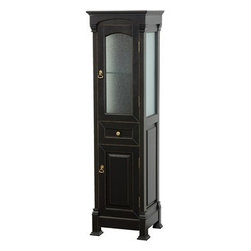 Wyndham Collection(R) - Andover Traditional Bathroom Cabinet by Wyndham Collection - Black - A new edition to the Wyndham Collection, the beautiful Andover bathroom series represents an updated take on traditional styling. The Andover is a keystone piece, with strong, classic lines and an attention to detail. The cabinets are hand carved and stained. Available in Black and Dark Cherry finishes to match any decor. The Andover Bathoom Vanity family is available in multiple sizes and finishes. Features Constructed of environmentally friendly, zero emissions solid Oak hardwood, engineered to prevent warping and last a lifetime Highly water-resistant low V.O.C. finish 12-stage wood preparation, sanding, painting and hand-finishing process Floor-standing Linen Tower Beautiful transitional styling Deep doweled drawers Fully extending side-mount drawer slides Butt door hinges Plenty of storage space Metal hardware with antique bronze finish One drawer, one glass-front door, one solid wood door Spec Sheet Installation Guide for Countertop and Backsplash --> Installation Guide for Undermount Sinks --> Installation Guide for Vessel Sinks --> Installation Guide for Mirrors -->