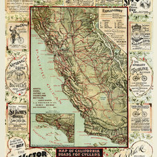 California Map Antique Cycling Map 16 X 12 Large by SigningStar