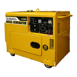 Buffalo Tools - Pro-Series Diesel 7000 Watt Generator - The Pro Series Diesel 7000 Watt Generator can power common major household appliances and power tools. It is equipped with two 120 volt AC outlets  a 120 volt twist lock outlet  a 120/240 volt twist lock AC outlet  and a 12 volt DC terminal for battery charging. With a full load of 5500 watts this generator can run for up to 7 hours. The voltage meter and circuit breakers control the power output so the devices plugged into the generator wonât get hit with an energy spike. This unit is designed for use at job and construction sites  with features like an eye hook to hang from cranes and scaffolding  and is engineered to run for long periods without too much noise or overheating. The engine noise level is less than 70 db  quite enough to work around all day long. Use Pro-Series Diesel 7000 Watt Generator when you need safety  stability and dependability on your jobs and projects. Itâs easy to maneuver with the four installed wheels. This generator runs on diesel fuel  which is a stable and easily available fuel source. Choosing a backup generator like the Pro Series Diesel 7000 Watt Generator can ease your worry when catastrophe strikes. A lawnmower battery with a minimum of 360 CCA (not included) must be installed to activate the electric start feature. 7000 watt surge watt/5500 running watts Self-excited  2 pole  single phase  418cc engine displacement  single phase 9 HP engine Rated voltage 120/240 volts  max output 7.0 kw  rated output 5.5 kw  power factor 1.0  rated frequency 60 Hz Automatic low oil shutdown  voltage meter  circuit protection  fuel gauge Includes wheels for easy mobility  and a hook on the top for a crane lift Self-priming electric start (battery not included  a lawnmower battery with a minimum 360 CCA must be installed to activate the electric start feature) Runs 7 hours with a full load  4 gallon diesel fuel tank capacity Two 120 volt AC outlets  one 120 volt AC twist lock outlet  one 120