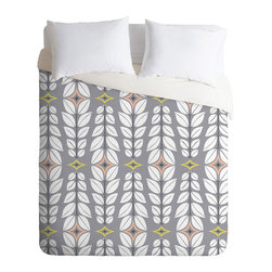 Gray Skies Duvet Cover - Geometric angles and leaf like patterns create a stunning duvet cover. Add simple pillows and white sheets to top off the look.