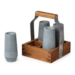 Inova Team -Modern Soapstone Shooter Set With Tote - Give your favorite spirits a good chill. Handcrafted from soapstone, these sleek shooters can be stowed in your freezer and then brought to the table in the rustic wood and metal serving caddy. Simply pour, serve, and enjoy your shot or cordial at the perfect temperature.
