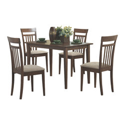 Monarch Specialties - Monarch Specialties I 1720 Walnut 5 Piece Dining Room Set - This casual dining set offers classic styling that will blend with any decor. The rectangular table features a solid wood top, straight edges and sleek square tapered legs. The side chairs feature vertical slat backs with padded upholstered seating for comfort. The clean lines of this set paired with a warm walnut finish, will help create a timeless look that you and your family will love. Dining Table (1), Dining Chair (4)