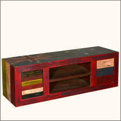 Multi Color Rustic Reclaimed Wood Shelf Drawer TV Media Console Cabinet -