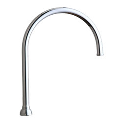 """Chicago - Chicago GN8AJKABCP Accessories and Parts - The Chicago GN8AJKABCP Accessories and Parts. This gooseneck rigid/swing spout measures 5-1/4"""" tall, and features an E4 female rose spray 3/8""""-18 NPSM female threaded outlet, and a bright, Chrome finish. This spout fits all 1-1/16""""-18 UNEF male body outlets."""