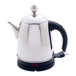 """Unknown - Precise Heat™ 1.6qt (1.5L) High-Quality, Heavy-Gauge Stainless Steel Kettle - Features mirror finish, phenolic handle, concealed heating element, removable base with power cord storage, and boil-dry protection. Brings 8oz of water to a boil in approximately 90 seconds. UL certification. Measures 9-1/2"""" x 6-3/8"""" x 10"""" including base. Limited 5 year warranty."""