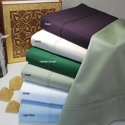 None - Egyptian Cotton 400 Thread Count Solid Sheet Set - Outfit your bed with quality and style with this luxurious Egyptian cotton sheet set containing a 400-thread-count fitted and flat sheet along with two pillowcases. This sateen,woven-sheet set is soft and comfortable,perfect for everyday use.
