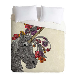 DENY Designs - DENY Designs Valentina Ramos Unicornucopia Duvet Cover - Lightweight - Turn your basic, boring down comforter into the super stylish focal point of your bedroom. Our Lightweight Duvet is made from an ultra soft, lightweight woven polyester, ivory-colored top with a 100% polyester, ivory-colored bottom. They include a hidden zipper with interior corner ties to secure your comforter. It is comfy, fade-resistant, machine washable and custom printed for each and every customer. If you're looking for a heavier duvet option, be sure to check out our Luxe Duvets!