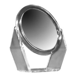 "Zadro - 8.5"" Vanity Mirror in Acrylic - Get a closer, clearer view with the 5X/1X Acrylic Vanity Mirror. A vanity mirror is an absolute must have for any woman. Looking your best is easy when you have a magnified vanity mirror at your side. It makes doing your hair and make-up easier than ever before. The 5X/1X Acrylic Vanity Mirror features a dual-sided, premium quality mirror with two magnifications. On one side, a 5x magnification mirror allows you to see up-close and in detail, allowing for easy make-up application. The other side features a normal, 1x magnification mirror that is great for checking hair and make-up. The 5X/1X Acrylic Vanity Mirror is available in a crystal clear acrylic finish. Features: -Clear acrylic finish. -1x and 5x magnification. -360° Swivel Head for Easy Viewing -Adjusts to almost any angle. Specifications: -Mirror surface dimensions: 8.5"" Diameter. -Overall dimensions: 10.75"" H x 9.5"" W x 3"" D. -90-Day warranty against initial defects in material, mechanical, electrical and/or cosmetic workmanship.."