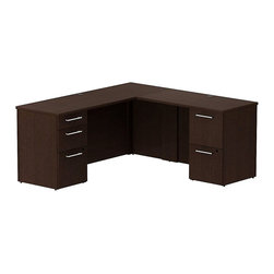 """Bush - Bush 300 Series 66"""" L-Shape Computer Desk in Mocha Cherry - Bush - Office Sets - 300S037MR - Functional beauty plus sophisticated styling comes standard with the Bush Mocha Cherry 300 Series 66""""""""W x 22""""""""D Small Space Desk (B/B/F) w/ 42""""""""W Return (F/F). Desk's narrow profile offers extra workspace yet fits in the tightest places. The 42"""""""" Return lets you spread out comfortably. Five drawers both B/B/F and F/F hold all necessary papers documents or office supplies. File drawers on full-extension ball bearing slides accommodate letter- legal or A4-size files. Wire grommets let you hide unsightly cords and cables keeping desk surfaces clutter-free. Choose from multiple finish options to fashion a complete office suite. Total configuration flexibility lets you outfit any-size office space. Tough rugged work surfaces resist scratching stains dings and dents looking good for years. Includes BBF Limited Lifetime warranty."""