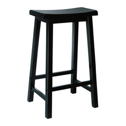 "Powell - Powell Antique Black w/ Sand Through Terra Cotta Bar Stool - This bar stool is made from solid tropical hard wood, and is finished in ""Antique Black"" with sand through terra cotta, easily matches today's kitchens and bars. The seat features a wide scoop for added comfort. Some assembly required."