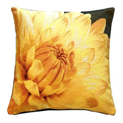 Pillow Decor Ltd. - Yellow Dahlia Bold Blossom Tapestry Throw Pillow - Like a ray of sunshine, this gorgeous throw pillow will cast a warm glow in any room you choose. The vibrant yellow dahlia on this square tapestry pillow is captured mid bloom — creating warmth that will last forever.