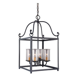 Feiss - Feiss F2907/4AF Declaration 4 Light Antique Forged Iron Chandelier - Finish: Antique Forged Iron