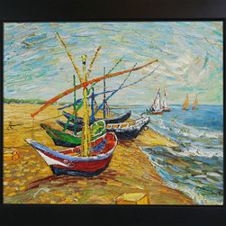 "overstockArt.com - Van Gogh - Fishing Boats on The Beach at Saintes-Maries Oil Painting - 20"" x 24"" Oil Painting On Canvas Hand painted oil reproduction of one of the most famous Van Gogh paintings, Fishing Boats on the Beach at Saintes-Maries. The original masterpiece was created in 1888. Today it has been carefully recreated detail-by-detail, color-by-color to near perfection. Why settle for a print when you can add sophistication to your rooms with a beautiful fine gallery reproduction oil painting? Vincent Van Gogh's restless spirit and depressive mental state fired his artistic work with great joy and, sadly, equally great despair. Known as a prolific Post-Impressionist, he produced many paintings that were heavily biographical. This work of art has the same emotions and beauty as the original by Van Gogh. Why not grace your home with this reproduced masterpiece? It is sure to bring many admirers!"