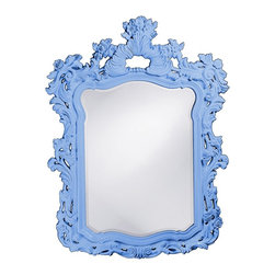 Howard Elliott - Turner Baby Blue Mirror - This large rectangular mirror has an ornate frame detailed with a feathery scrolling design that is finished in a glossy baby blue lacquer.