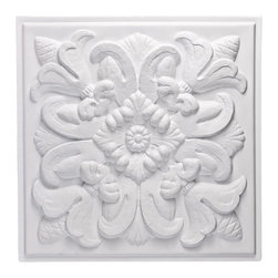 """Florentine Ceiling Tile - White - Perfect for both commercial and residential applications, these tiles are made from thick .03"""" vinyl plastic. Their lightweight yet durable construction make these tiles easy to install. Waterproof, these tiles are washable and won't stain due to humidity or mildew. A perfect choice for anyone wanting to add that designer touch at an amazing price."""