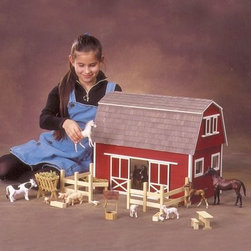 Real Good Toys Ruff 'n Rustic All American Big Barn - You can now house even more playmates for your beloved horses with the 1/3 bigger Ruff n' Rustic All American Barn! Features include: two rooms 3/8 thick milled clapboard exterior walls and grooved sidewalls for easy one-step assembly wooden shingles for the roof and fences and furnishings made from pine moldings that are supplied in easy-to-cut lengths. Animals not included. Recommended Supplies: Hammer Fine Toothed Saw Glues Utility Knife Masking Tape Sandpaper: 100 and 320 grit Paints Paint Brushes Ruler 3/4 or 1 inch Brads.*Paint glue curtains and any landscaping or furnishings are not included.Gingerbread (if used) and Trim Strips are supplied in easy to cut lengths.The overall dimensions of each dollhouse include items that protrude such as porches and roof cresting.Our products are not recommended for children under the age of 3. Order the grandest All American Barn for your collection today.