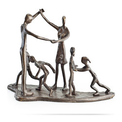 Danya B. - Children and Parents at Play Bronze Sculpture - Handcrafted cast bronze sculpture of children at play with adults. Portrays the closeness of caretaker & child interaction. Inspired in life and family and handcrafted  using the sand casting method. Great gift for parents, teachers and caretakers.