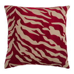 Surya Rugs - Safari Tan and Maroon 18 x 18 Pillow - Zebra print is always in style. This fun design brings character to your room. Colors of red and beige accent this decorative pillow. This pillow contains a poly fill and a zipper closure. Add this pillow to your collection today.  - Includes one poly-fiber filled insert and one pillow cover.   - Pillow cover material: 65% Acrylic, 35% Polyester Surya Rugs - JS026-1818P