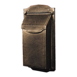 Contemporary Vertical Wall-Mount Mailbox - Clean lines, smooth sides, and understated style make this mailbox a great addition to newer and older homes alike. Sturdy decorative newspaper scrolls are included to hold your magazines, catalogs, and other media mail.
